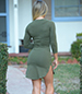 Bodycon Dress – Medium Khaki Green / Simple Round Neckline