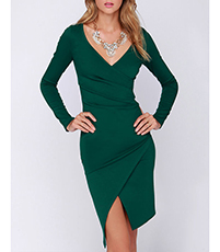 Wrap-Style Dress – Emerald Green / Midi Length