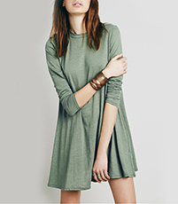 Swing Short Dress – Light Fern Green / Long Sleeves / High Crew Style Neckline