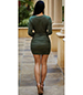Gathered Bodycon Dress – Muted Emerald Green / Plunging Neckline