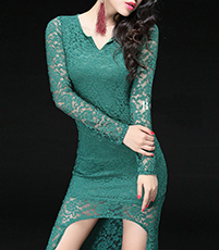 Hi-Low Bodycon Dress – Emerald Green / Lace
