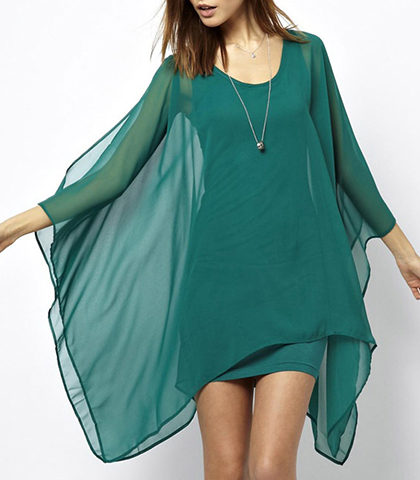 71f4d2cf0215 Chiffon Dress – Emerald Green   Long Sheer Cape-like Sleeves