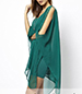 Chiffon Dress – Emerald Green / Long Sheer Cape-like Sleeves