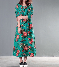 Caftan Style Maxi Dress – Floral / Green / Long Sleeves