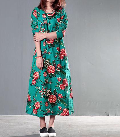 cdafbb61490 Caftan Style Maxi Dress - Floral   Green   Long Sleeves