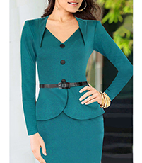 Business Dress – Long Sleeves / Belted / Deep Turquoise / Knee Length