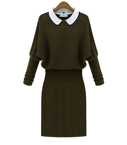 Midi Sweater Dress – White Collar / Raglan Sleeves / Army Green