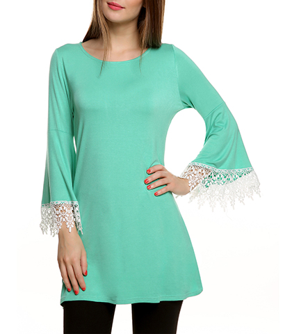A Line Short Dress – Long Bell Sleeves / Wide Hemline / Round Neck / Lace Trim