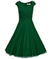 Chiffon Vintage Dress – Dark Green / Cap Sleeves / Wide Neckline / Narrow Waist
