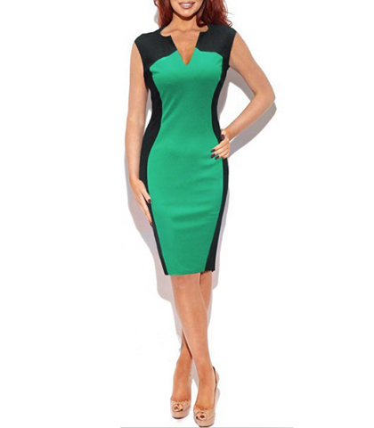30fc9272c5eb Knee Length Bodycon Dress – V Neck Styling / Hourglass Shape / Green Black