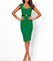 Peplum Dress – Green / Knee Length / Wide Queen Anne Neckline