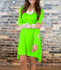 Long Lace Sleeve Dress – Bright Green / Irregular Trapeze Hemline / Lace Neck