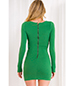 Green Long Sleeve Dress – Knotted Waistline Feature / Round Neckline / Zippered Closure