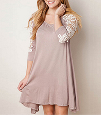 A Line Dress – Khaki / Scooped Neckline / Lace Cutouts