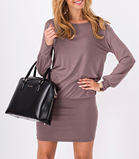 Short Dress – Khaki / Blouson Top / Long Sleeves / Cuffed Edge
