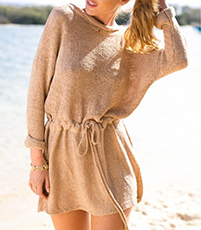Sweater Dress – Khaki / Damask Textured