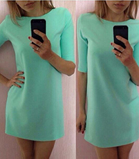 Mint Green Casual Dress – Loose Fit / Short Sleeves / High Round Neckline