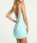 Backless Sleeveless Mini Dress – Mint / Open Lace Back Detailing / Rounded Neckline