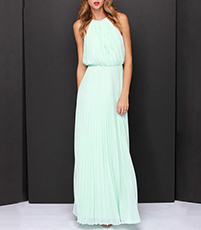 Evening Gown – Blouson Top / Floor Length / Halter Styling / Sleeveless