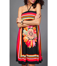 Elastic Beach Dress – Halter Straps / Rayon / Large Floral Print / Vibrant Colors