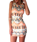 Mini Dress – Aztec Styling / Scoop Neckline / Sleeveless / Tapered Waist / Stretch