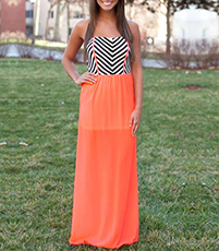 Chevron Maxi Dress – Strapless Bodice / Sweetheart Neckline