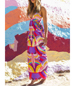 Colorful Maxi Dress – Cutout Side / Lace Up Back and Split