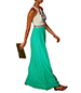 Maxi Dress – Green Skirt / White Bodice Trimmed With Colorful Detail