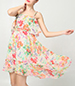 Chiffon Mini Dress – Floral Print / Ruffled Bodice