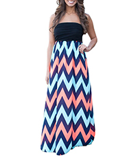 Off The Shoulder Maxi Dress – Soft Aqua Navy And Coral Chevron Print