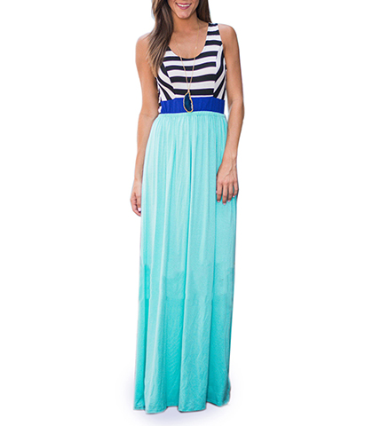 Sleeveless Maxi Dress – Navy and White Stripes / Ombre Aqua