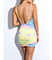 Sexy Mini Dress – Rainbow of Pastel Colors / Plunging Neckline