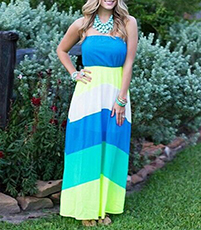 Off The Shoulder Maxi Dress – Bold Stripes / Blue Yellow White Green / Chevron