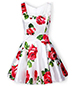 Fit and Flare Floral Sundress – White with Roses / Mini Length