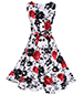 Sleeveless Fit and Flare Vintage Dress – White Black Red / Rose Print