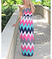 Off The Shoulder Maxi Dress – Chevron Print / Pink Blue White Black Gray