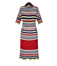 Midi Sweater Dress – Colorful Horizontal Stripes / Short Sleeves