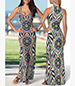 Sleeveless Maxi Dress – Bold Colorful Print / Geometric Shapes / Low Neckline
