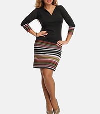 Stretch Knit Mini Dress – Black on Top / Striped Skirt