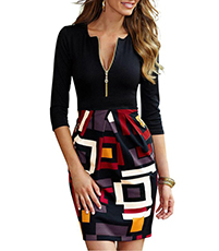 Contemporary Bodycon Dress – Geometric Print / Solid Black Bodice