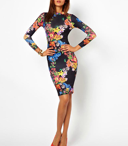 Midi Bodycon Dress – Colorful Floral Pattern / Exposed Back