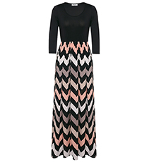 Maxi Chevron Dress – Multicolored Herringbone Print / Solid Black