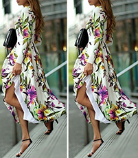 Maxi Dress – Long Sleeves / Floral Print on White