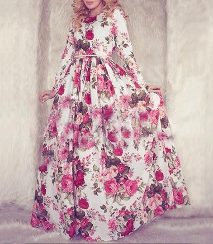 Floor Length Dress – Rose Pattern / Maxi Style / White Pink / Long Sleeves
