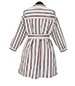 Shirt Dress – Brown and White Pinstripes / Belted Waist