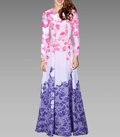 Maxi Dress – Long Sleeves / Gradient Color / Floral Print