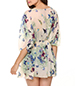 Chiffon Lounging Blouse – Floral Design / Medium Sleeves / Wide Neckline