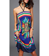 Beach Sun Dress – Handkerchief Tie Neck / Bold Colors / Halter Style