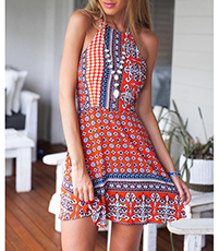 Strappy Halter Dress – Medallion Print / Wide Hem / Crossover Straps
