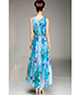 Long Chiffon Dress – Large Floral Print / Sleeveless / Round Neckline